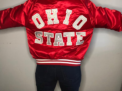 Ohio State University Locker Line Satin Bomber SPELL OUT - S