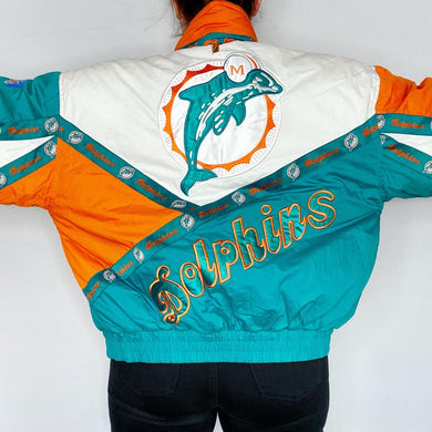 Vintage 1990s Miami Dolphins Full Zip Puffer Jacket from Pro Player - M/L
