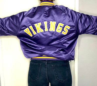 Minnesota Vikings Chalk Line Satin Bomber SPELL OUT - L