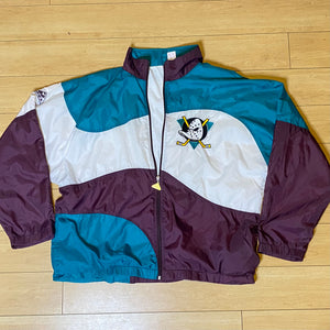 Vintage 1990s Mighty Ducks of Anaheim Full Zip Windbreaker from Apex One - XL