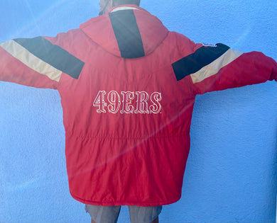 Vintage Late 90s-early 00s San Francisco 49ers Full Zip Puffer Jacket from Reebok - XXL