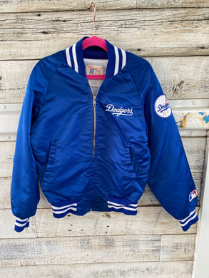 Vintage Los Angeles LA Dodgers Kids Satin Bomber Jacket - Youth Medium