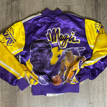 Load image into Gallery viewer, Vintage 1980s Los Angeles LA Lakers x Magic Johnson Chalk Line Satin Bomber FANIMATION Jacket - Youth Medium
