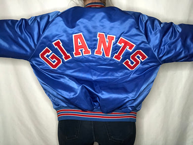 Vintage New York Giants Satin Bomber Jacket SPELL OUT - L