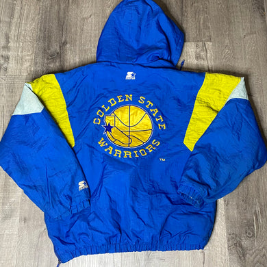 Vintage 1990s Golden State Warriors GSW Old Logo Kangaroo Pullover Puffer Jacket from STARTER - L/XL