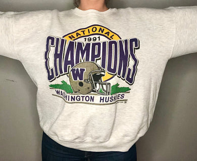 Vintage 1991 University of Washington Huskies Rose Bowl Crew - XL