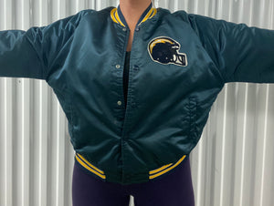 Vintage San Diego Chargers Chalk Line Satin Bomber Jacket SPELL OUT - L