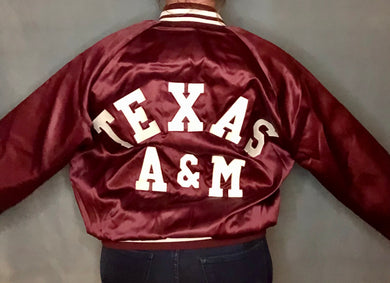 Vintage Texas A&M University Chalk Line Satin Bomber Jacket SPELL OUT - L