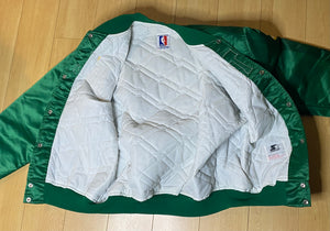 Vintage 1980s Boston Celtics Satin Bomber STARTER JACKET SPELL OUT - XL