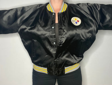 Vintage Pittsburgh Steelers Chalk Line Satin Bomber Jacket - XL/XXL