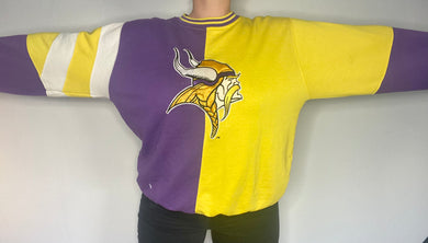 Vintage 1990s Minnesota Vikings Color Block Crew from STARTER - L/XL