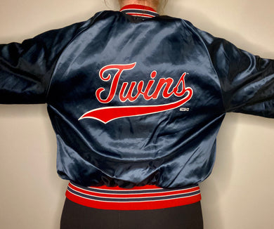 Vintage 1992 Minnesota Twins Locker Line Satin Bomber Jacket SPELL OUT - L