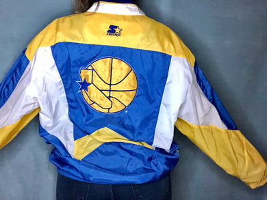 Vintage 1990s Golden State Warriors GSW Old Logo STARTER JACKET Windbreaker - L