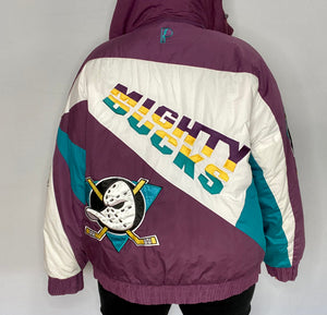 Vintage 1990s Mighty Ducks of Anaheim Full Zip Puffer Jacket from Pro Player - L