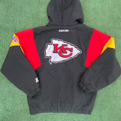 Vintage 1990s Kansas City KC Chiefs Kangaroo-Style Pullover Puffer Jacket from STARTER -M/L