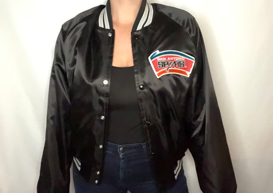 Vintage San Antonio Spurs Old Logo Chalk Line Satin Bomber Jacket - M