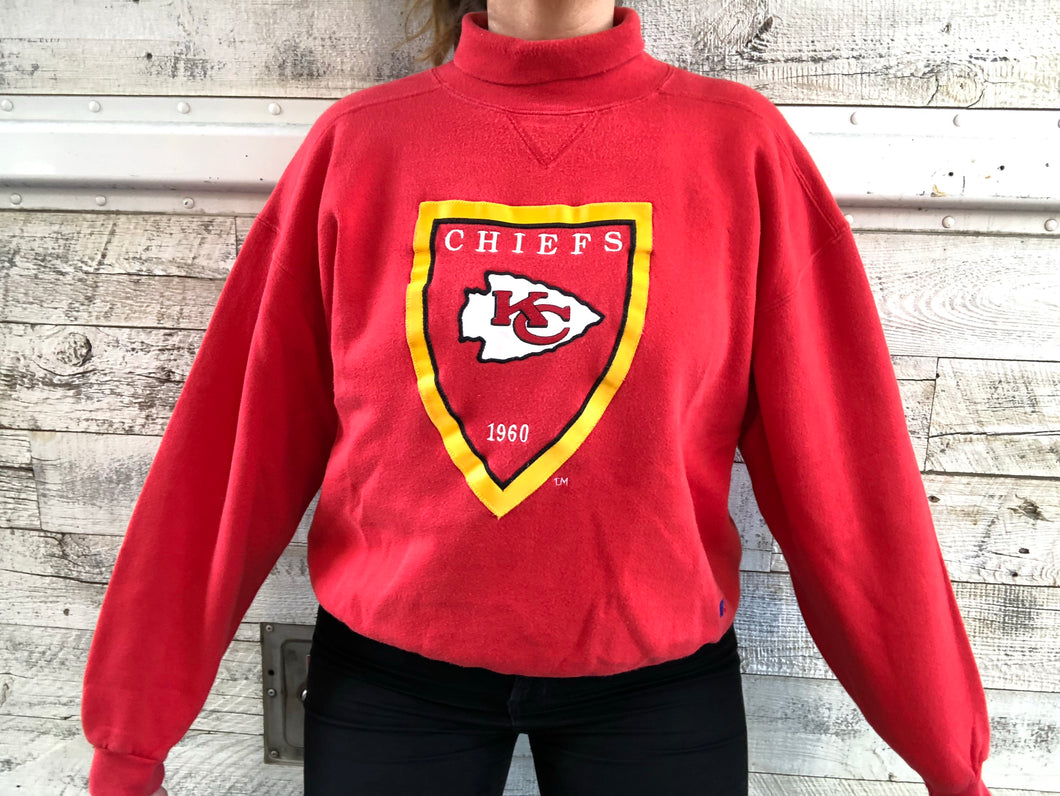 Vintage Early 90s Kansas City Chiefs Embroidered TURTLENECK - L