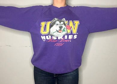 Vintage 1991 University of Washington Huskies Rose Bowl Champs Crew - L