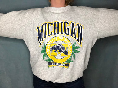 Vintage University of Michigan Wolverines Emblem Crew - XL