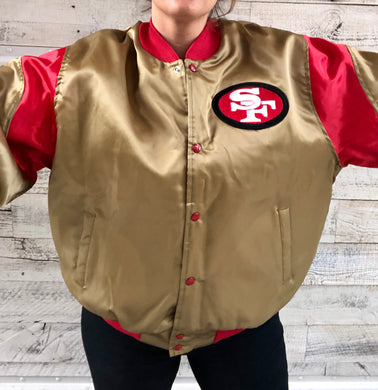 Vintage Gold San Francisco 49ers Chalk Line Satin Bomber Jacket - XL