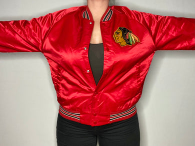 Vintage 1980s Chicago Blackhawks Chalk Line Satin Bomber Jacket - M
