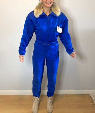 Vintage Nils Ski Onesie with Stirrups, Fur, and 1991 Lift Tickets! - Size 4/S