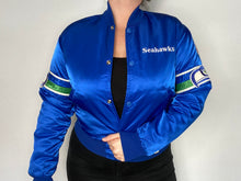 Load image into Gallery viewer, Vintage 1980s Seattle Seahawks Satin Bomber STARTER JACKET - S