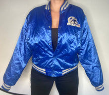 Load image into Gallery viewer, Vintage 1980s Detroit Lions Locker Line Satin Bomber Jacket with Helmet Logo  - L