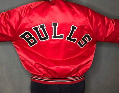 Vintage Chicago Bulls Chalk Line Satin Bomber Jacket SPELL OUT - L