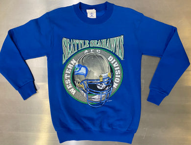 Vintage 1995 Seattle Seahawks AFC Western Division Crew - Youth Large