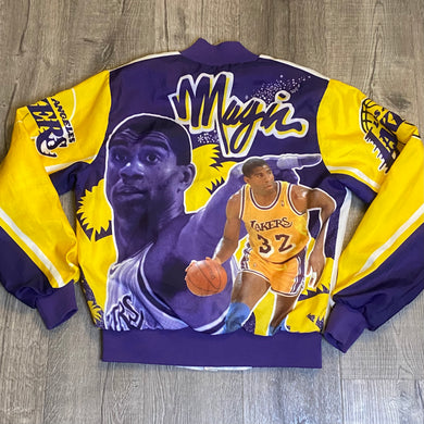 Vintage 1980s Los Angeles LA Lakers x Magic Johnson Chalk Line Satin Bomber FANIMATION Jacket - S