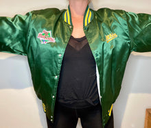 Load image into Gallery viewer, Vintage 1980s Oakland A's Athletics Satin Bomber Jacket from Swingster - XL