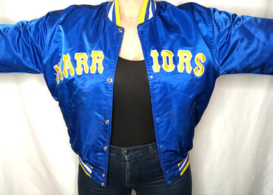 Vintage GSW Golden State Warriors Satin Bomber STARTER JACKET SPELL OUT - L