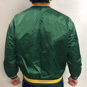 Vintage 80s Oakland A's Athletics Embroidered Satin Bomber Jacket - L