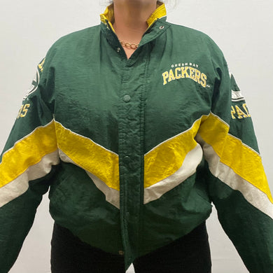 Vintage 1990s Green Bay GB Packers Full Zip Starter Jacket Puffer - M/L
