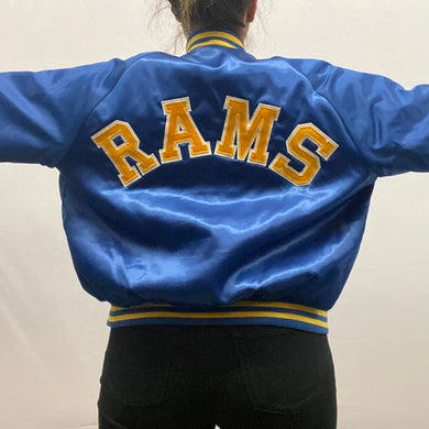 Vintage 1985 Los Angeles LA Rams 40 Year Anniversary Chalk Line Satin Bomber Jacket SPELL OUT - L