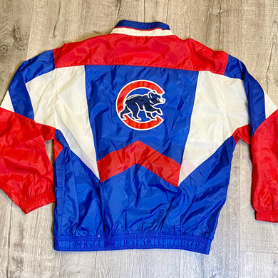 Vintage 1990s Chicago Cubs Full Zip Windbreaker Jacket from STARTER - L/XL