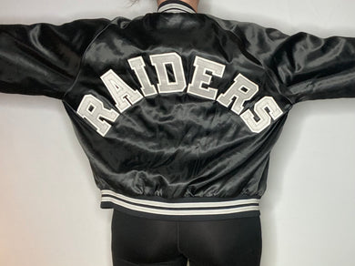 Vintage Los Angeles LA Raiders Chalk Line Satin Bomber Jacket SPELL OUT - L
