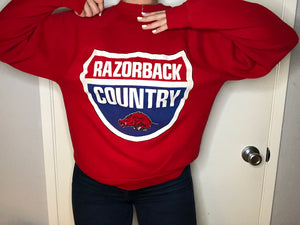 "Vintage 1980s University of Arkansas Razorbacks ""Razorback Country"" Crew - M"