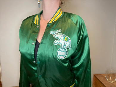 Vintage Oakland A's Athletics Locker Line Satin Bomber - L