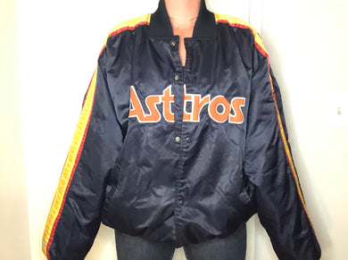 Vintage Houston Astros Satin Bomber Jacket SPELL OUT - XXL