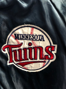 Vintage Minnesota Twins Chalk Line Satin Bomber Jacket - L