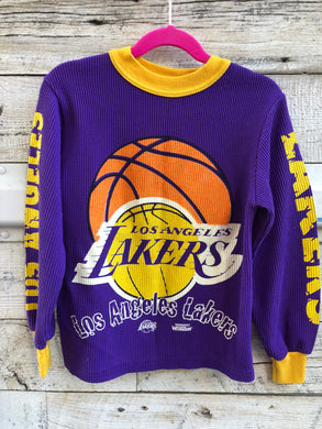Vintage 90s Los Angeles LA Lakers Kids Thermal Long Sleeve Shirt - Child Small