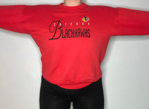 Vintage 1990s Chicago Blackhawks Embroidered Crew - M