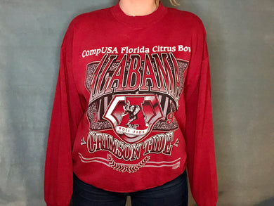 Vintage 1995 University of Alabama Crimson Tide CompUSA Florida Citrus Bowl Crew - L