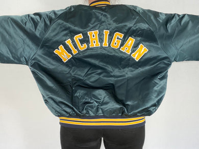 Vintage 1980s University of Michigan Wolverines Locker Line Satin Bomber Jacket SPELL OUT - XXL