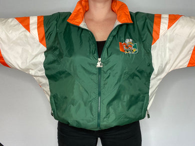 Vintage 1990s University of Miami Hurricanes Old Logo Full Zip Starter Jacket Windbreaker - XL