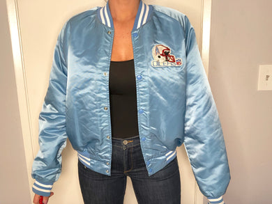 Houston Oilers Chalk Line Satin Bomber - L - Rad Max Vintage