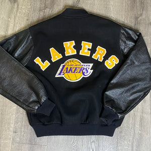 Vintage 1980s Los Angeles LA Lakers Leather Letterman Bomber Jacket - L