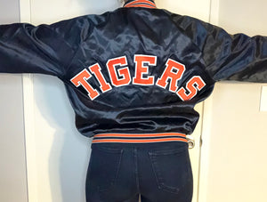 Vintage 1990s Detroit Tigers Locker Line Satin Bomber SPELL OUT - L